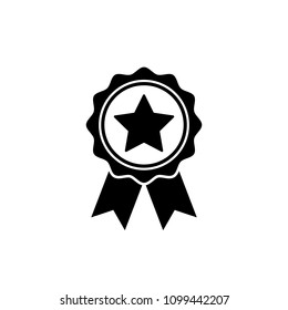 Award medal icon in flat style. Rosette symbol isolated on white background Simple first place award with star sign. Abstract icon in black Vector illustration for graphic design, Web, UI, mobile upp