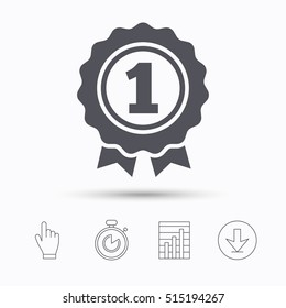 Award medal icon. Winner emblem symbol. Stopwatch timer. Hand click, report chart and download arrow. Linear icons. Vector