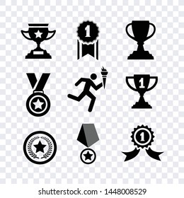 Award medal icons vector isolated on transparent background
