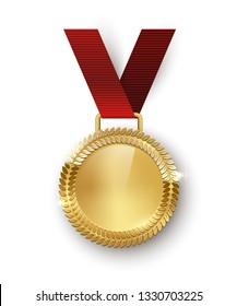 Award medal with ribbon 3d realistic illustration. Reward. First place golden medal with laurel leaves. Certified. Quality blank, empty badge, emblem with red ribbon. Winner s trophy.