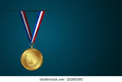 Award Medal with ribbon in Vector