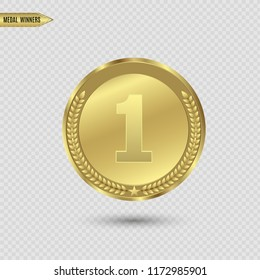 Award medals isolated on transparent background. Vector illustration of winner concept. On the podium.