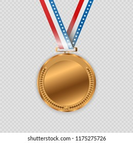 Award medals isolated on transparent background. Vector illustration of winner concept.