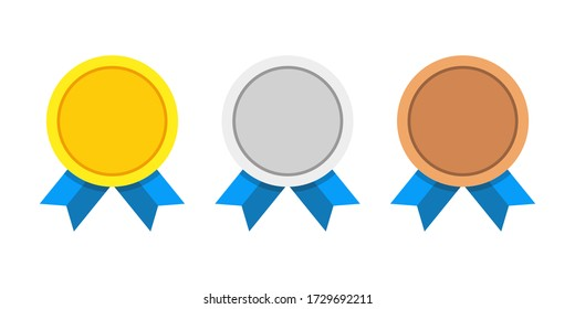 Award medals vector set golden, silver and bronze isolated on white background. Winner medal with blue ribbon icon. Championship award. Achievement victory concept.