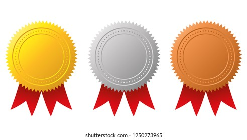 Award medals-gold, silver and bronze. Gold seal. Vector illustration