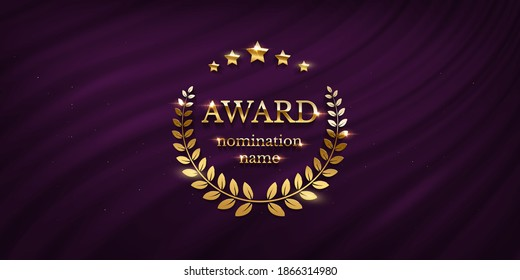 Award nomination emblem, stage in spotlight with purple curtain background. Movie award ceremony opening, celebration event, announcement vector illustration. Film theatre scene.