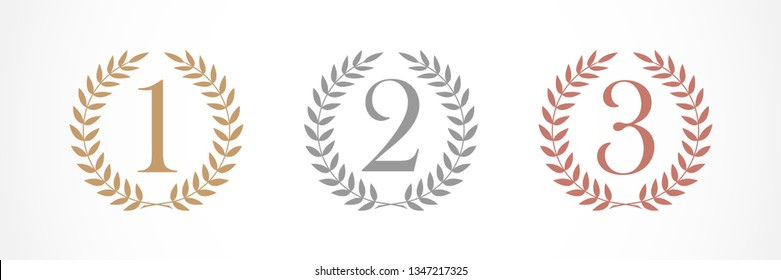 Award numbers logotype set. Isolated elegant abstract nominee graphic design template. 1st 2nd 3rd place cup symbol. Festival congratulating framed template. Celebrating decorative tradition greeting