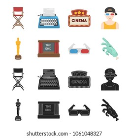 Award Oscar, movie screen, 3D glasses. Films and film set collection icons in black,cartoon style vector symbol stock illustration web.
