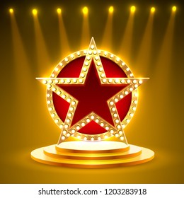 Award podium star gold, golden cup. Vector background