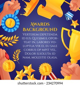 Award and prizes poster with hands holding victory cups and champion medals vector illustration.