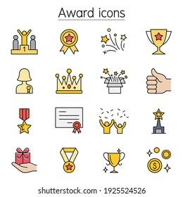 Award, Reward, Trophy color line icons
