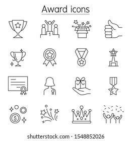 Award, Reward, Trophy icons set in thin line style