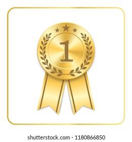 Award ribbon gold icon. Blank medal with laurel wreath isolated white background. Stamp rosette design trophy. Golden symbol winner, celebration, sport competition, champion Vector illustration