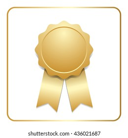 Award ribbon gold icon. Blank medal with stars isolated on white background. Stamp rosette design trophy. Golden emblem. Symbol of winner, celebration, sport achievement, champion. Vector illustration