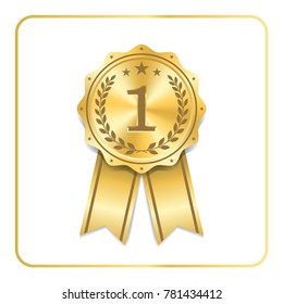 Award ribbon gold icon. Blank medal with laurel wreath isolated white background. Stamp rosette design trophy. Golden symbol of winner, celebration, sport competition, champion. Vector illustration