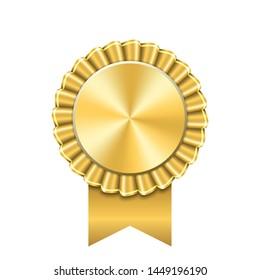 Award ribbon gold icon. Golden medal design isolated on white background. Symbol of winner celebration, best champion achievement, success trophy seal. Blank rosette element Vector illustration