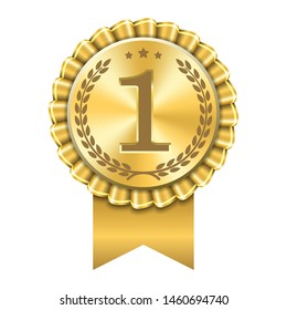 Award ribbon gold icon number first. Design winner golden medal 1 prize. Symbol best trophy, 1st success champion, one sport competition honor, achievement leadership, victory Vector illustration