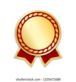 Award ribbon isolated. Gold red design medal, label, badge, certificate. Symbol best sale, price, quality, guarantee or success, achievement. Golden ribbon award decoration Vector illustration