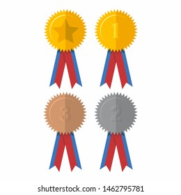 Award ribbon vector design, collection of colored ribbons.