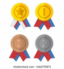 Award ribbon vector design, collection of colored ribbons.