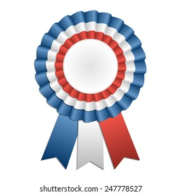 Award rosette with ribbon in French flag's colors