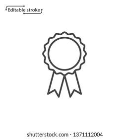 Award rosette with ribbon vector icon. Editable stroke.