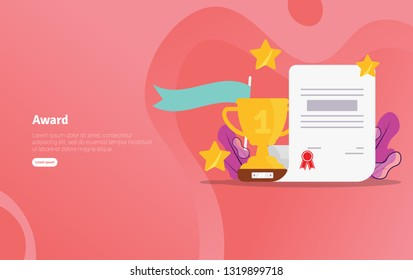 Award School Concept Educational and Scientific Illustration Banner, Suitable For Wallpaper, Banner, Background, Card, Book Illustration or Web Landing Page
