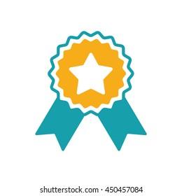 award star badge ribbon icon on white background