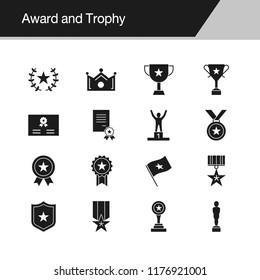 Award and Trophy icons. Design for presentation, graphic design, mobile application, web design, infographics. Vector illustration.