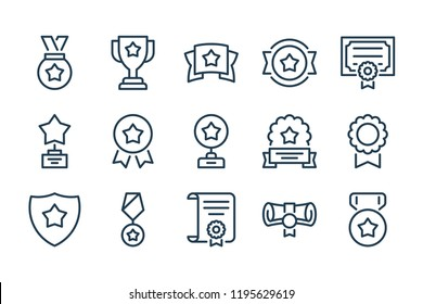Award and trophy line icons. Vector icon set.