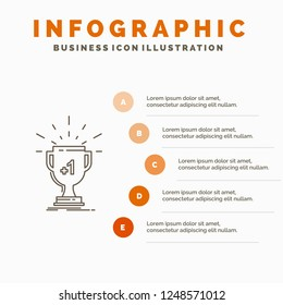 award, trophy, win, prize, first Infographics Template for Website and Presentation. Line Gray icon with Orange infographic style vector illustration