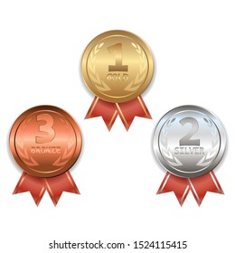 Award trophy. Winners medals. Gold. Silver. Bronze. Award medals. Set of realistic vector images.