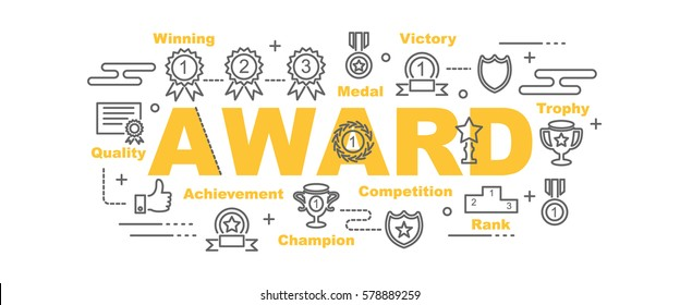 award vector banner design concept, flat style with thin line art icons on white background