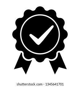 Award vector icon, badge with ribbons icon