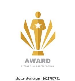 Award winner cup - logo icon on white background vector illustration. Statuette reward championship concept sign. Graphic design element.