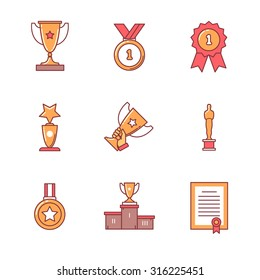 Award winner icons thin line set. Flat style color vector symbols isolated on white.