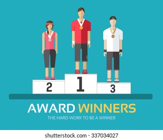Award winners in flat design background concept. Rewarding athletes on the podium. Icons for your product or illustration, web and mobile applications