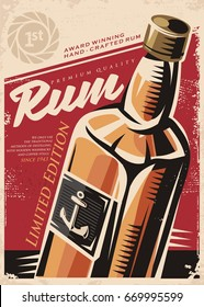 Award winning hand crafted rum, retro poster design template with rum bottle on red old paper background. Alcoholic drinks conceptual advertise.