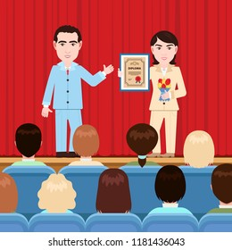 Awarding of a diploma, patent, vector illustration, flat cartoon drawing. Man hands woman a certificate in a frame on stage with a curtain in front of the audience in the auditorium, solemn rewarding