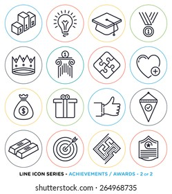 Awards and achievements line icons set.