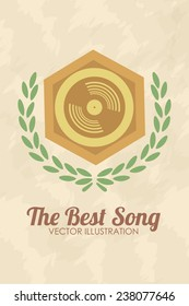 the awards the best song illustration, cd over color background