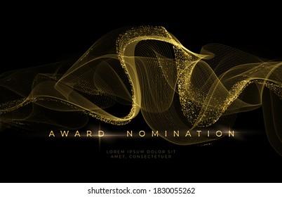 Awards ceremony Luxurious black background with golden glitter waves. Award Nomination Background. Vector illustration EPS10