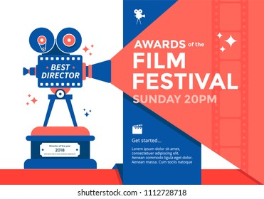 Awards film festival banner. Cinema poster template with camera. Vector illustration