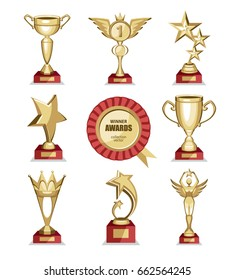 Awards goblet star set collection gold