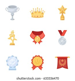 Awards, gold medals and cups as prizes in competitions and competitions. Awards and trophies icon in set collection on cartoon style vector symbol stock illustration.