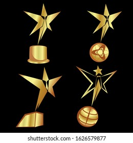 Awards golden statue set abstract people star in different forms. Oscar celebrity. Vector illustration.