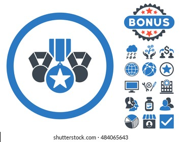 Awards icon with bonus design elements. Vector illustration style is flat iconic bicolor symbols, smooth blue colors, white background.
