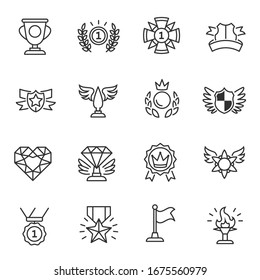 Awards, icon set. medals, figurines, etc., linear icons. Line with editable stroke