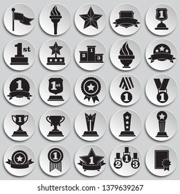 Awards icons set on plates background for graphic and web design. Simple vector sign. Internet concept symbol for website button or mobile app