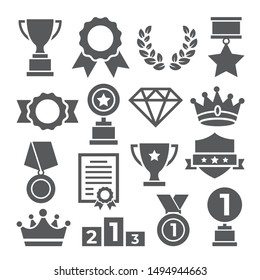 Awards icons set on white background
